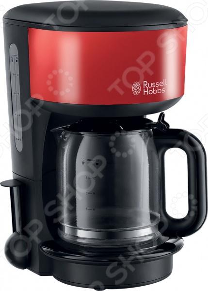 Кофеварка Russell Hobbs 20131-56Кофеварки<br>Кофеварка Russell Hobbs 20131-56 отличный выбор для любителей бодрящего крепкого кофе. Вкусный и ароматный напиток в течение пары минут теперь это возможно. Предлагаемая модель сочетает в себе профессиональное качество и современный дизайн, удобна и практична в использовании. В качестве исходного продукта используется молотый кофе. Улучшенная технология экстракции позволяет максимально сохранить аромат и вкусовые качества напитка. Есть возможность приготовления до десяти чашечек кофе за одно заваривание. Кофеварка снабжена резервуаром для воды объемом 1,25 литра, съемным держателем фильтра для кофе, функцией пауза , выключателем с подсветкой и индикатором уровня воды. В комплект поставки входит мерная ложечка.<br>