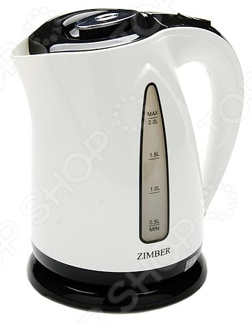 Чайник Zimber ZM-10976Чайники электрические<br>Чайник Zimber ZM-10976 это удобный чайник, который подойдет для ежедневного использования. Мощность 2000 Вт, максимальный объем 2 литра. Корпус выполнен из нержавеющей стали и полипропилена, скрытый нагревательный элемент, есть индикатор включения. Есть функция отключения при снятии чайника с подставки и закипании. Можно отметить следующие преимущества электрического чайника:  Быстрый нагрев воды;  Поддержка воды в горячем состоянии в течении долгого времени;  Скрытый нагревательный элемент более долговечен, чем спираль;  Яркий дизайн порадует глаз и внесет новые краски в дизайн вашей кухни.<br>