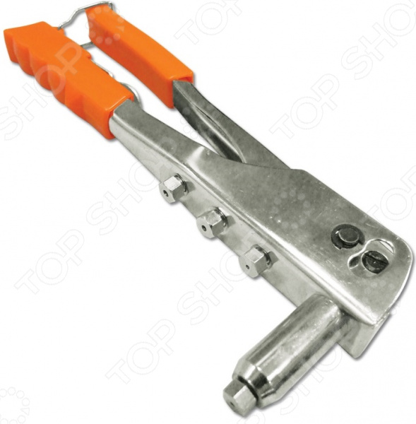 Заклепочник SANTOOL «Мастер» 032203-001Заклепочники<br>Заклепочник SANTOOL Мастер 032203-001 инструмент, применяемый для соединения листов и профилей из металла, а также различных конструкций с тонкими стенками. Рабочая часть изделия выполнена из высокопрочной конструкционной стали. Эргономичная пластиковая рукоятка обеспечивает надежный удобный хват во время работы. Фиксатор позволяет сэкономить место при хранении инструмента. В комплекте:  заклепочник;  насадки 4 шт.;  ключ для замены насадок.<br>