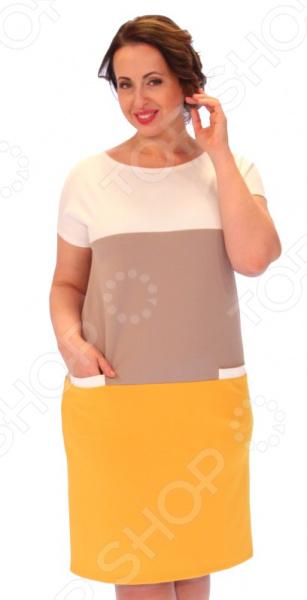 Платье Milana Style «Лот 1017». Цвет: горчичныйПовседневные платья<br>Платье Milana Style Лот 1017 это стильное платье в стиле колор блокинг с имитацией кармана и спущенным плечом, которое поможет вам создавать невероятные образы, всегда оставаясь женственной и утонченной. Благодаря полуприталенному силуэту оно скроет недостатки фигуры и подчеркнет достоинства. В этом платье вы будете чувствовать себя блистательно как на работе, так и на вечерней прогулке по городу. Универсальная длина до колена делает платье одеждой на все случаи жизни, а короткие рукава скрывают полноту руки обеспечивают комфорт в течении всего дня. Округлый вырез горловины визуально удлиняет шею и расставляет акценты формируя женственный силуэт. Платье изготовлено из плотной ткани 60 вискоза, 30 ПАН, 10 лайкра , благодаря чему материал не скатывается и не линяет после стирки. Даже после длительных стирок и использования платье будет выглядеть прекрасно. ПАН делает изделие теплым и мягким, приятным к телу.<br>