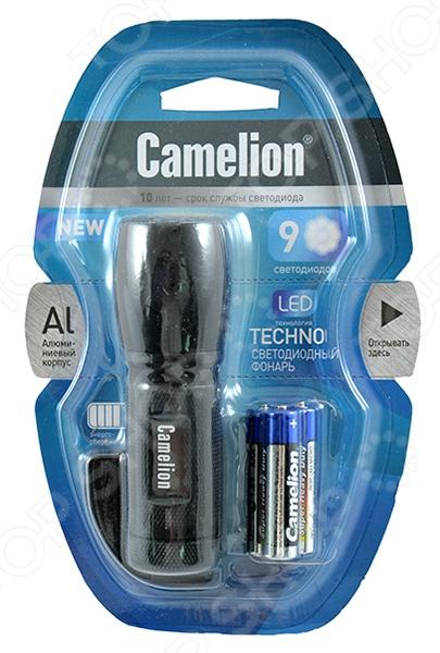 Фонарик Camelion C-5107Туристические фонари<br>Фонарик Camelion C-5107 компактный фонарь с батарейками 3 ААА входят в комплект , корпус которого выполнен из ударопрочного материала. Фонарь поместится в кармашке сумки или рюкзака. Встроены 9 светодиодов для мощного свечения. Есть ремень для переноски на руке<br>