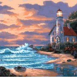 фото Набор для живописи на холсте Белоснежка «Дом с маяком» 401-AB