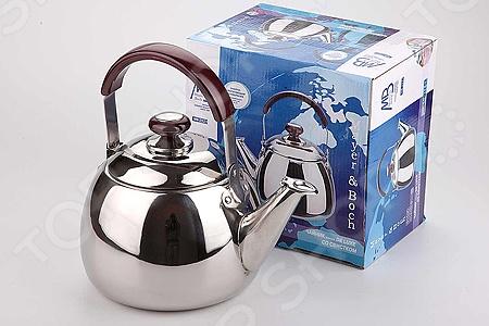 Чайник со свистком Super Kristal SK-2523Чайники со свистком и без свистка<br>Чайник со свистком Super Kristal SK-2523 - выполнен из долговечной и прочной стали, которая не окисляется и устойчива к коррозии. Объем чайника составляет 3 литра, оснащен свистком, благодаря которому вы можете не беспокоиться о том, что закипевшая вода зальет плиту. Как только вода закипит - свисток оповестит вас об этом. Капсулированное дно с прослойкой из алюминия обеспечивает наилучшее распределение тепла. Ручка чайника, а так же ручка крышки изготовлены из специального теплоустойчивого материала, который не обжигает руки. Удобный и практичный чайник отлично впишется в интерьер любой кухни. Можно мыть в посудомоечной машине.<br>