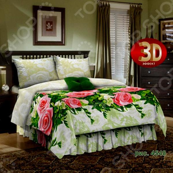Комплект постельного белья Диана 4548. 2-спальный2-спальные<br>Комплект постельного белья Диана 4548 белье для создания уютной обстановки и украшения спальной комнаты. Чтобы ваш сон всегда был приятным, а пробуждение легким, необходимо подобрать то постельное белье, которое будет соответствовать всем вашим пожеланиям. Белье сделано из 100 хлопковой ткани, отличается следующими качествами:  Достаточно мягка и приятна на ощупь, не имеет склонности к скатыванию, линянию, протиранию, обладает повышенной гигроскопичностью, практически не мнется, не растягивается, не садится, не выгорает, гипоаллергенна, хорошо отстирывается и не теряет при этом своих насыщенных цветов;  Современная фотопечать прекрасно передаёт цвет и мельчайшие детали изображения;  За счёт специального переплетения волокон ткань устойчива к механическим воздействиям.  Приятная цветопередача белья гарантирует, что атмосфера вашей спальни наполнится теплотой и уютом, а вы испытаете множество сладких мгновений спокойного сна. Дизайн великолепно подойдет для спальни в классическом стиле, добавит в интерьер аристократическую легкость и элегантность. Оформлено красочными и объемными рисунками, нанесенные на ткань методом реактивной печати. Уход:  Перед первым применением комплект постельного белья рекомендуется постирать. Перед стиркой выверните наизнанку наволочки и пододеяльник.  Для сохранения цвета не используйте порошки, которые содержат отбеливатель. Рекомендуемая температура стирки: 40 С и ниже без использования кондиционера или смягчителя воды.<br>