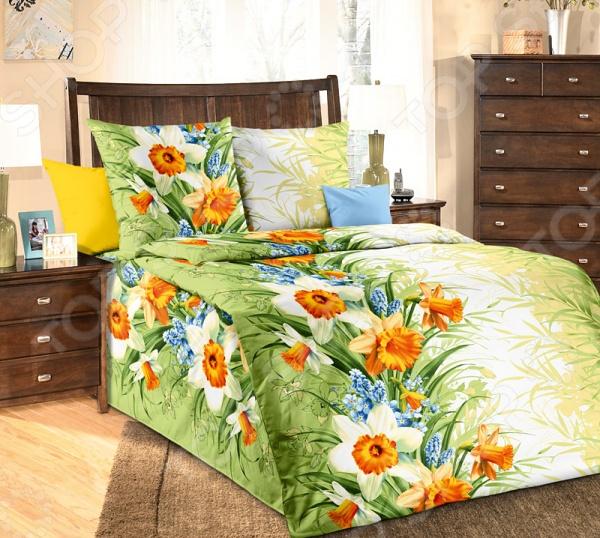 Комплект постельного белья Белиссимо «Весна». 1,5-спальный1,5-спальные<br>Комплект постельного белья Белиссимо Весна оптимальный выбор для создания уюта и комфорта! Человек треть своей жизни проводит в постели, и от ощущений, которые вы испытываете при прикосновении к простыням или наволочкам, многое зависит. Чтобы сон всегда был комфортным, а пробуждение приятным, мы предлагаем вам этот комплект постельного белья. Приятный цвет и высокое качество комплекта гарантирует, что атмосфера вашей спальни наполнится теплотой и уютом, а вы испытаете множество сладких мгновений спокойного сна. Имеет более глубокий и сочный рисунок, благодаря подбору правильной комбинации пигментов и особой технологии нанесения рисунка.<br>