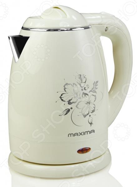 Чайник Maxima МК-M421Чайники электрические<br>Чайник Maxima МК-M421 объемом 1,5 литров имеет мощность 1500 Вт. Обладает защитой от ожога при прикосновении к корпусу. Также есть отсек для шнура и возможность вращения на подставке с углом в 360 градусов. Длина шнура составляет 0,7 метров. Автоотключение при отсутствии воды и закипании.<br>