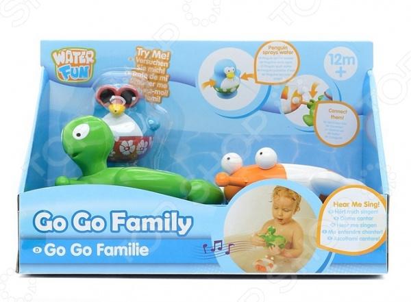Набор для ванны Toy Target «Веселые друзья: черепаха и рыба»Игрушки для купания малышей<br>Набор для ванны Toy Target Веселые друзья: черепаха и рыба превратит обычное купание в настоящее приключение в компании милого пингвина, черепашки и рыбки. В набор входят все три персонажа. Зеленая черепашка и плоская рыбка имеют на спинке отверстие, куда можно посадить непоседливого пингвина и отправиться в увлекательное путешествие по водным просторам ванной. Игрушки можно использовать отдельно или соединить между собой при помощи простой системы крепления. Если присоединить другие игрушки этой же линии, то можно создать веселый хоровод. Игрушки выполнены из высококачественных материалов, которые соответствуют всем требованиям безопасности. Яркие, красочные персонажи будут долго радовать вашего малыша своим видом.<br>