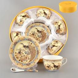 Купить Чайный набор с ложками Elan Gallery «Павлин на бежевом» 180788