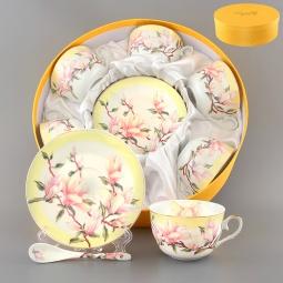 Купить Чайный набор с ложками Elan Gallery «Орхидея на желтом»