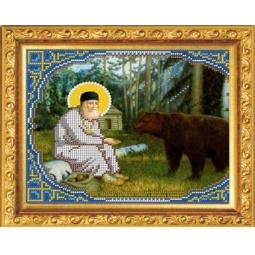 Купить Набор для вышивания бисером Светлица «Преподобный Серафим Саровский кормит медведя»