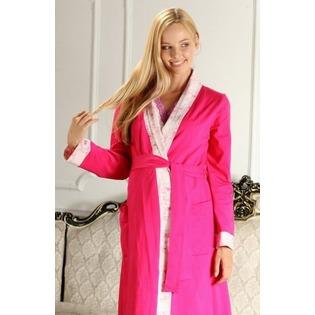 Купить Комплект: халат и сорочка для беременных Nuova Vita 214.2. Цвет: розовый, фуксия