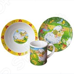 Набор посуды детский Viconte VC-1201 Барашек - яркий и красочный набор, который обязательно понравится вашему малышу. В набор входят 3 предмета: плоска тарелка диаметром 19 см, глубока миска под суп, кашу диаметром 18 см, кружка на 250 мл. Изделия выполнены из высококачественной керамики, которая отличается своей экологичностью, практичностью. Яркий и красочный рисунок милого, очаровательного барашка надолго сохранить свои цвета и четкость. Порадуйте вашего малыша яркой и интересной посудой с набором Viconte VC-1201 Барашек ! Набор подходит для мытья в посудомоечной машине.