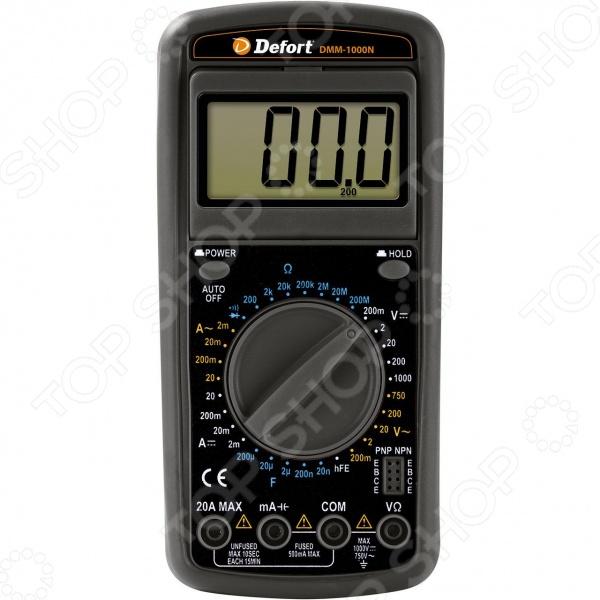 Мультитестер Defort DMM-1000N необходим для измерения напряжения постоянного тока, силы постоянного тока, напряжения переменного тока, силы переменного тока, сопротивления, для проверки диодов, а также непрерывности электрических цепей. В комплект входит кабель со щупом 2 шт .