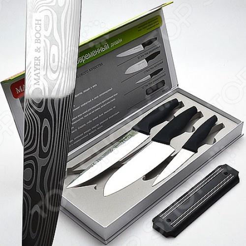 Набор ножей Mayer&amp;amp;Boch MB-22712Ножи<br>Набор ножей Mayer Boch 22712 включает в себя четыре предмета: три ножа из нержавеющей стали с покрытием non-stick и магнитную подставку для крепления на стене. В комплекте поставляется разделочный нож длиной 20,3 см, восточный 17,8 см и универсальный 12,7 см. Ножи упакованы в подарочную упаковку. Посуда и кухонные принадлежности компании Mayer Boch это новое поколение кухонной посуды, которое создано ведущими мировыми специалистами с использованием самых современных технологий. Компания выпускает экологически чистые изделия с соблюдением международных норм безопасности, так что вы сможете использовать посуду и кухонные приборы в быту долгие годы без вреда для здоровья.<br>