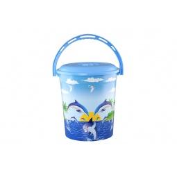 Купить Ведро с крышкой детское Violet 0212СК «Дельфин»