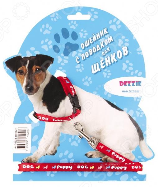 Ошейник с поводком для щенков DEZZIE Puppy Dog 2 шлейка для мини собак dezzie puppy dog