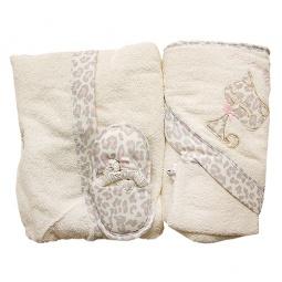 Купить Комплект махровый для малыша Bebetto Leo. Цвет: серый, розовый