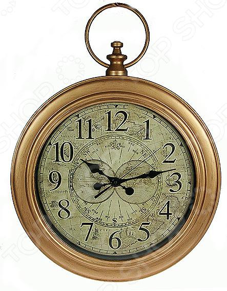 Часы настенные «Ретро» 222433Часы настенные<br>Часы настенные Ретро 222433 оригинальный и практичный предмет интерьера, который станет настоящим украшением любого помещения. Часы представлены в стиле ретро, который никогда не потеряет своей актуальности. Выдержанные в теплых коричневых тонах они прекрасно впишутся в любой интерьер и наполнят его уютом. Циферблат с арабскими цифрами дополнен изящным ретро принтом, имеет три стрелки. Также имеется петля для подвеса изделия на стену. Часы работают от батареек типа АА в комплект не входят . В качестве рекомендаций по уходу регулярное удаление пыли мягкой сухой тканью.<br>