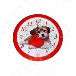 цена на Часы настенные Вега П 1-1/7-217 «Собака и красное сердце»