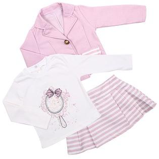 Купить Комплект для девочки: юбка, пиджак и толстовка Estella ЯВ109822. Цвет: пудра