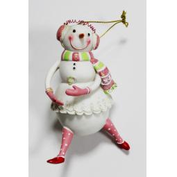 фото Елочное украшение-подвеска Crystal Deco «Снеговик-девочка»