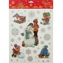 фото Пленка декоративная для окна Феникс-Презент 38608 «Снеговик и малыши»