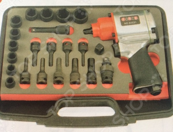 Набор инструмента: пневмогайковерт с ударными головками и насадками Force F-3233