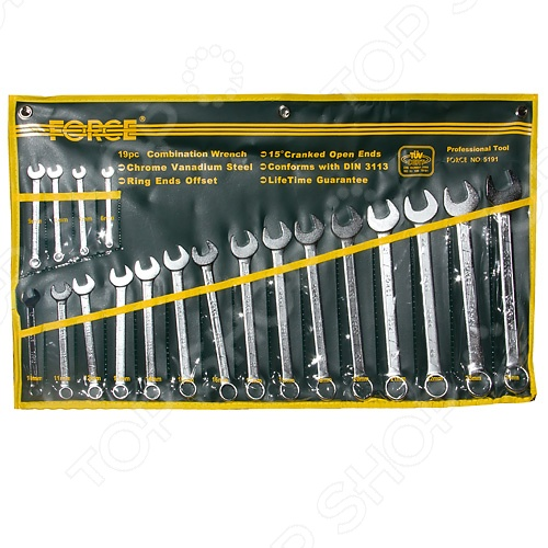 Набор ключей комбинированных Force F-5191  force 5121 набор комбинированных ключей 8 23 мм