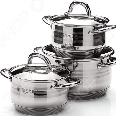 Набор посуды для готовки Mayer&amp;amp;Boch MB-25668Наборы посуды для готовки<br>Набор посуды для готовки Mayer Boch MB-25668 станет отличным дополнением к набору вашей кухонной утвари. Посуда функциональна и универсальна в использовании, подойдет для варки супов, гарниров, макарон, овощей, компотов и т.д. Кастрюли выполнены из высококачественной нержавеющей стали, а внутренняя поверхность идеально ровная, что облегчает ручное мытьё. Такой материал не вступающим в реакции с продуктами и не искажающим вкус приготовленных блюд. Крышки изготовлены из закаленного жаростойкого стекла, снабжены металлическим ободком для защиты от сколов и пароотводом. При необходимости посуда легко моется в посудомоечной машине.<br>