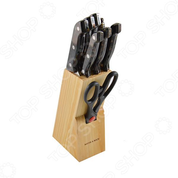Набор ножей Mayer&amp;amp;Boch MB-488Ножи<br>Набор ножей Mayer Boch MB-488 это традиционные ножи в современном исполнении, отличные помощники на любой кухне. Ножи можно использовать при резке мяса, фруктов, овощей и других продуктов. Оснащены острыми лезвиями из нержавеющей стали, также эргономичными ручками из пластика и дерева для более удобного хвата. При правильном обращении прослужат вам долгие годы. В наборе есть нож поварской 15.2 см, нож хлебный 17,8 см, нож для разделки мяса 17,8 см, нож для выемки костей, нож универсальный 11,4 см, нож для очистки, ножницы, точилка, деревянная подставка Предметы набора компактно размещаются в стильной подставке, которая выполнена из высококачественной древесины с полимерным покрытием.<br>