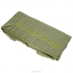 фото Полотенце подарочное с вышивкой TAC Владимир. Цвет: оливковый
