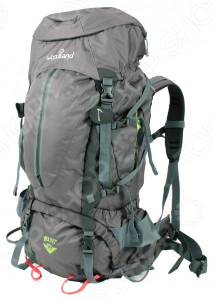 Рюкзак туристический WoodLand Mount 90Туристические рюкзаки и аксессуары<br>Рюкзак туристический WoodLand Mount 90 предназначен для людей, которые ведут активный образ жизни. Поездка на рыбалку, выезд в лес на пикник или пешие походы в горы любое из этих мероприятий требует тщательной подготовки, сбора определенных вещей, принадлежностей или аксессуаров. На помощь приходят сумки, мешки и рюкзаки. Предлагаемая модель обладает целым рядом преимуществ, среди которых не только привлекательный внешний вид и современный дизайн. Рюкзак туристический WoodLand Mount 90 оснащен боковыми карманами для мелочи, фронтальным карманом с влагозащищенной молнией, внутренним карманом для питьевой системы и съемным клапаном. В основное отделение можно попасть сверху, снизу и сбоку. Удобство переноски и правильное распределение нагрузки обеспечат регулируемые плечевые лямки, грудная стяжка с резиновым компенсатором и поясной ремень с широкими крыльями. Изделие выполнено из высококачественного материала, который устойчив к силовым нагрузкам и изнашиванию. Для защиты от влаги предусмотрен чехол. Объем составляет 90 литров.<br>