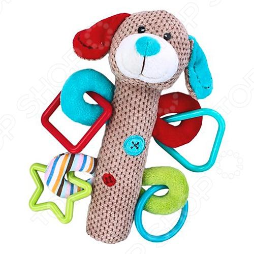 фото Игрушка-погремушка мягкая Жирафики «Щенок с пищалкой», Погремушки. Подвески