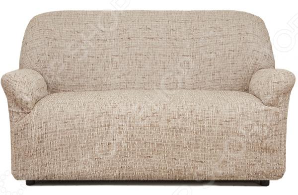 Натяжной чехол на двухместный диван «Плиссе. Тирамису»Чехлы на диваны<br>Удобно, практично, стильно! Поблекшие цвета, пятна и потертая изношенная обивка как бы нам не хотелось, но со временем мягкая мебель теряет свой первоначальный вид и начинает выглядеть совсем не презентабельно. Кто-то в этом случае спешит в магазин за новой, кто-то реставрирует старую, а кто-то просто покупает мебельный чехол. Сегодня, использование подобных чехлов набирает все большую популярность и на то есть, как минимум три причины:  это удобно вам потребуется не более минуты, чтобы преобразить любимый диван или кресло;  это практично при необходимости чехлы всегда можно снять и простирнуть в машинке;  это стильно над их созданием трудятся лучшие дизайнеры и художники-декораторы.  Натяжной чехол на двухместный диван Плиссе. Тирамису это отличный выбор для тех, кто хочет быстро, недорого и без особых усилий обновить свою мягкую мебель. Модель выполнена в нежно-бежевой цветовой гамме. Диван с такой обивкой органично впишется в интерьер вашей комнаты, подчеркнет общее стилистическое решение и поможет грамотно расставить цветовые акценты. Особенно гармонично он будет смотреться в сочетании с белыми, коричневыми и голубыми цветами в интерьере.  Точно на заказ сшит Что примечательно, натяжной чехол еще и весьма универсален. Он подходит для любых двухместных диванов, даже при условии, что последние сделаны на заказ и имеют, отличную от традиционной, форму. Весь секрет в том, что ткань чехла прострочена тонкими эластичными нитями. Благодаря этому, он хорошо тянется, отлично держит форму, не сборит и не сползает. Обратите внимание, что если ваша мебель выполнена из экокожи или кожзама, то для крепления чехла следует приорести специальные фиксаторы в комплект не входят . То же касается и крупногабаритной мебели.  Если говорить, о составе материала, то он является смесовым и состоит из равных частей хлопка и полиэстера. Среди преимуществ ткани стоит отметить:  прочность и износостойкость;  устойчивост