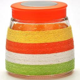 фото Банка для сыпучих продуктов Loraine. Оплётка: цветная нить. Высота: 12 см. Объем: 900 мл
