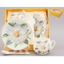 Купить Кофейная пара с ложками Elan Gallery «Белый шиповник»