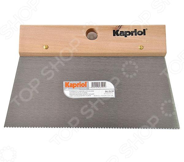 Шпатель KAPRIOL зубчатый  kapriol 120 мм 23218 полужесткий шпатель с деревянной ручкой