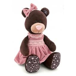 фото Мягкая игрушка Orange сидячая в бархатном платье Milk «Медведь». Размер: 30 см