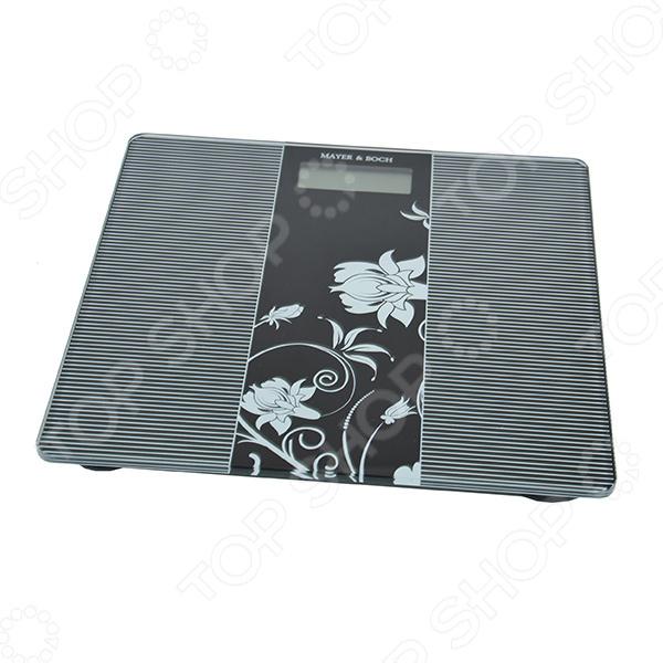 Весы Mayer&amp;amp;Boch MB-20907Весы<br>Весы Mayer Boch MB-20907 - замечательная модель для вашей ванной комнаты или спальни. Весы имеют платформу из высокопрочного закаленного стекла и удобный дисплей. Дизайнерский рисунок делает весы невероятно элегантными и придает им изысканный вид. Модель оснащена индикатором перевеса и разрядки батареи. Автоматическое выключение. Такие весы помогут вам контролировать свой вес и при этом станут замечательным украшением любого интерьера.<br>