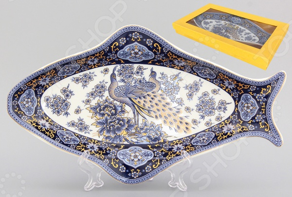 фото Блюдо Elan Gallery «Павлин синий», Сервировочные блюда