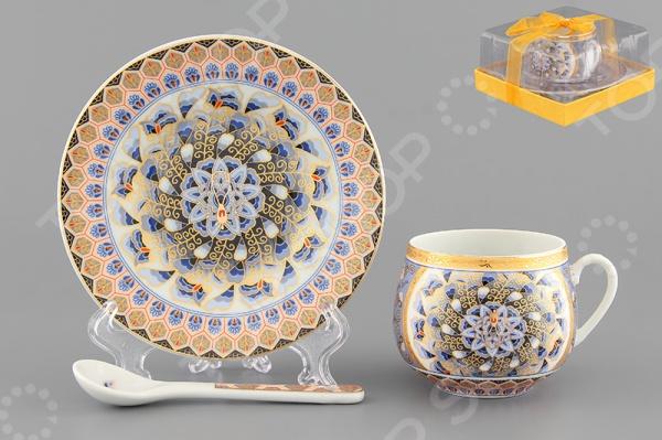 Чашка кофейная с блюдцем и ложкой Elan Gallery «Калейдоскоп» чашка чайная с блюдцем elan gallery изысканность
