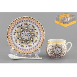 Купить Чашка кофейная с блюдцем и ложкой Elan Gallery «Калейдоскоп»