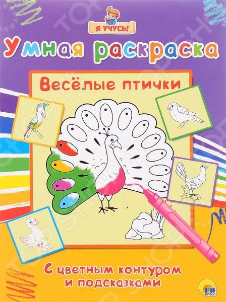 Веселые птичкиРаскраски с играми и заданиями<br>Раскраска с цветным контуром и подсказками.<br>