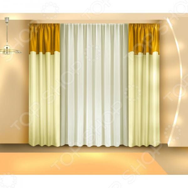 Злата Корунка Комплект штор Zlata Korunka Б097. Цвет: золотистый. Уцененный товар