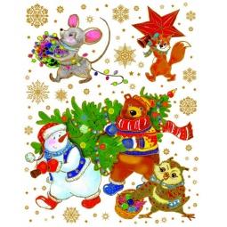 фото Пленка декоративная для окна Феникс-Презент 38623 «Снеговик, Медведь и ёлка»
