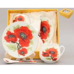 Купить Кофейная пара с ложками Elan Gallery «Маки»