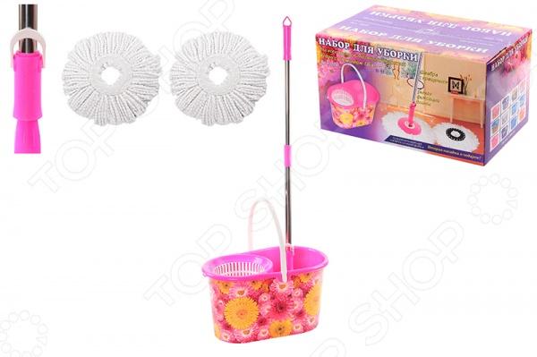 Набор для уборки: швабра, ведро и насадки Violet 09000/97 «Хризантемы»