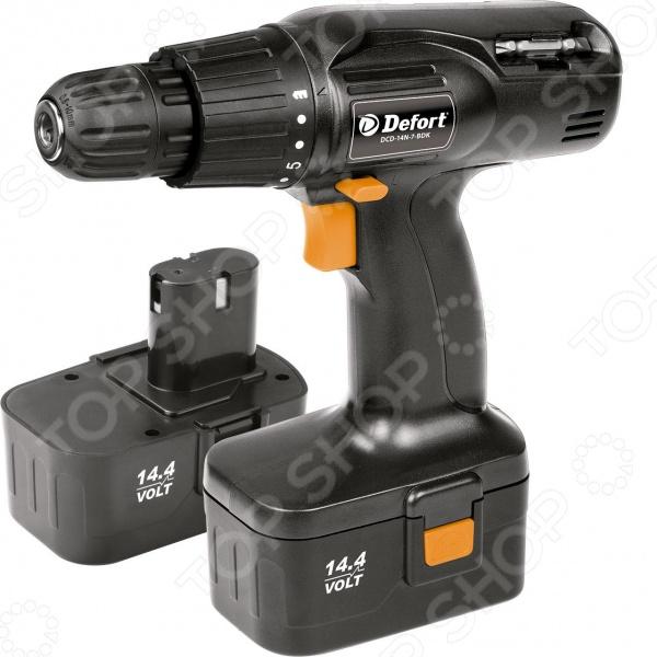 Дрель-шуруповерт аккумуляторная Defort DCD-14N-7-BDK сконструирована для удобного использования во время ремонта не только профессионалом, но и любителем. Область применения - выполнение сверлильных работ и работ с крепежными элементами. Для наибольшего удобства Defort DCD-14N-7-BDK имеет 16 положений регулировки крутящего момента. Max. отверстия в дереве металле:19 мм 7 мм.