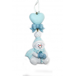 фото Елочное украшение Crystal Deco «Снеговик с сердечком». Цвет: голубой