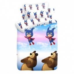 фото Детский комплект постельного белья Непоседа Маша и медведь «Маша-Супергерой»
